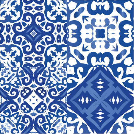 Decorative color ceramic azulejo tiles. Original design. Kit of vector seamless patterns. Blue folk ethnic ornaments for print, web background, surface texture, towels, pillows, wallpaper.