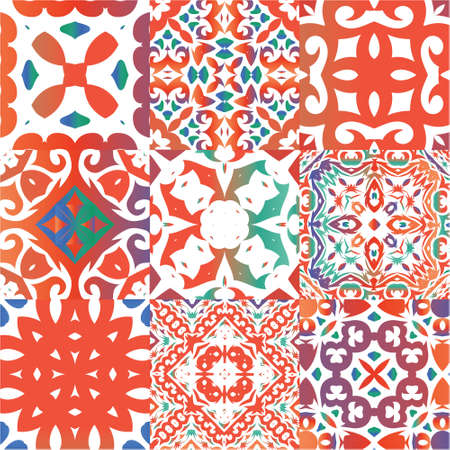 Ornamental talavera mexico tiles decor. Kit of vector seamless patterns. Colored design. Red gorgeous flower folk prints for linens, smartphone cases, scrapbooking, bags or T-shirts.