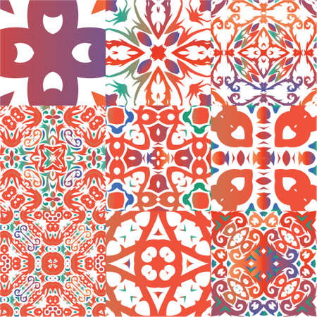 Traditional ornate mexican talavera. Kit of vector seamless patterns. Colored design. Red abstract backgrounds for web backdrop, print, pillows, surface texture, wallpaper, towels. Illustration