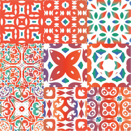 Antique talavera tiles patchworks. Hand drawn design. Collection of vector seamless patterns. Red mexican ornamental  decor for bags, smartphone cases, T-shirts, linens or scrapbooking.