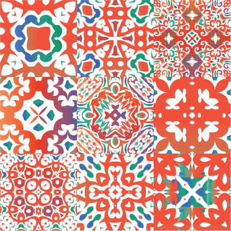 Antique talavera tiles patchworks. Geometric design. Collection of vector seamless patterns. Red mexican ornamental  decor for bags, smartphone cases, T-shirts, linens or scrapbooking.