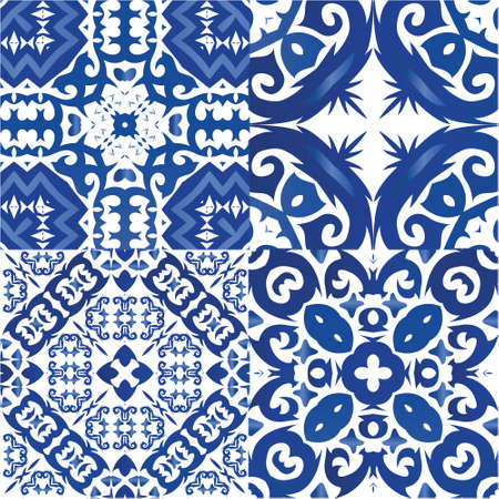 Ethnic ceramic tiles in portuguese azulejo. Set of vector seamless patterns. Geometric design. Blue vintage ornaments for surface texture, towels, pillows, wallpaper, print, web background.