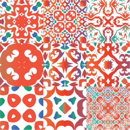 Antique talavera tiles patchworks. Universal design. Kit of vector seamless patterns. Red mexican ornamental  decor for bags, smartphone cases, T-shirts, linens or scrapbooking. Çizim