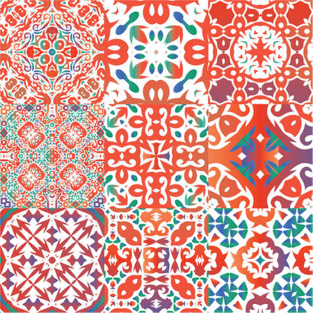 Mexican ornamental talavera ceramic. Collection of vector seamless patterns. Geometric design. Red vintage backdrops for wallpaper, web background, towels, print, surface texture, pillows. Illustration