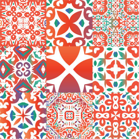Ethnic ceramic tiles in mexican talavera. Kit of vector seamless patterns. Minimal design. Red vintage ornaments for surface texture, towels, pillows, wallpaper, print, web background.