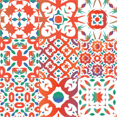 Antique talavera tiles patchworks. Graphic design. Kit of vector seamless patterns. Red mexican ornamental  decor for bags, smartphone cases, T-shirts, linens or scrapbooking. Illustration