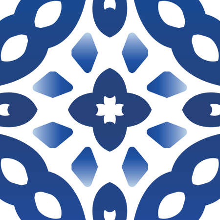 Traditional ornate portuguese azulejo. Vector seamless pattern frame. Bathroom design. Blue abstract background for web backdrop, print, pillows, surface texture, wallpaper, towels. Illustration