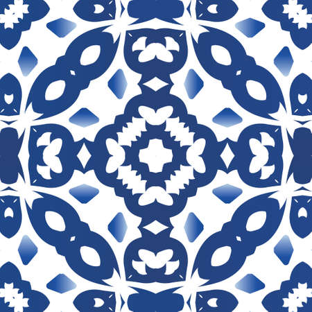 Ethnic ceramic tile in portuguese azulejo. Vector seamless pattern elements. Fashionable design. Blue vintage ornament for surface texture, towels, pillows, wallpaper, print, web background.