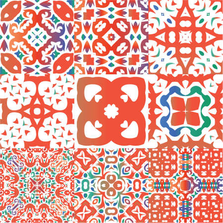 Mexican ornamental talavera ceramic. Colored design. Kit of vector seamless patterns. Red vintage backdrops for wallpaper, web background, towels, print, surface texture, pillows.