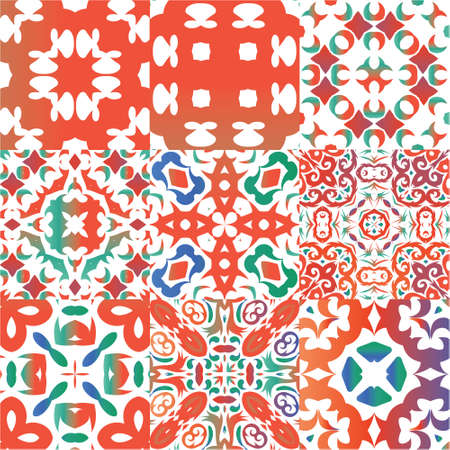 Decorative color ceramic talavera tiles. Collection of vector seamless patterns. Stylish design. Red folk ethnic ornaments for print, web background, surface texture, towels, pillows, wallpaper.