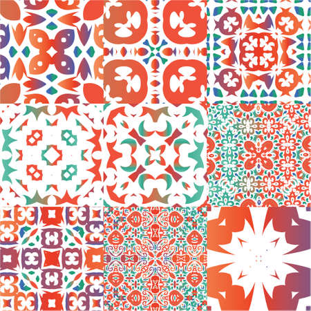 Traditional ornate mexican talavera. Hand drawn design. Kit of vector seamless patterns. Red abstract backgrounds for web backdrop, print, pillows, surface texture, wallpaper, towels.