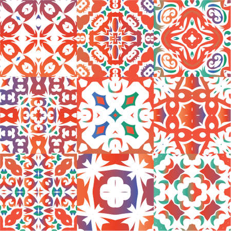 Antique ornate tiles talavera mexico. Set of vector seamless patterns. Minimal design. Red ethnic backgrounds for T-shirts, scrapbooking, linens, smartphone cases or bags.