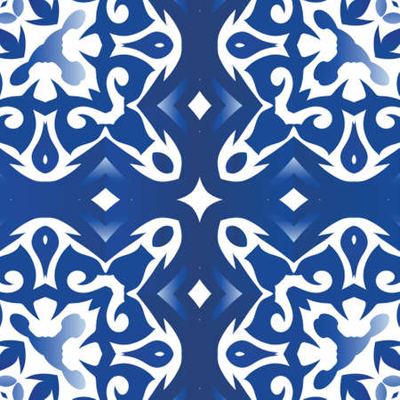 Ornamental azulejo portugal tiles decor. Vector seamless pattern flyer. Colored design. Blue gorgeous flower folk print for linens, smartphone cases, scrapbooking, bags or T-shirts.