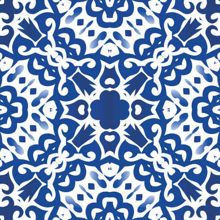 Ethnic ceramic tile in portuguese azulejo. Vector seamless pattern poster. Stylish design. Blue vintage ornament for surface texture, towels, pillows, wallpaper, print, web background.