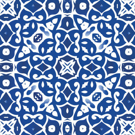 Ceramic tiles azulejo portugal. Graphic design. Vector seamless pattern poster. Blue ethnic background for T-shirts, scrapbooking, linens, smartphone cases or bags.