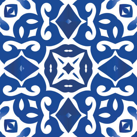 Ceramic tiles azulejo portugal. Vector seamless pattern frame. Creative design. Blue ethnic background for T-shirts, scrapbooking, linens, smartphone cases or bags. Illustration