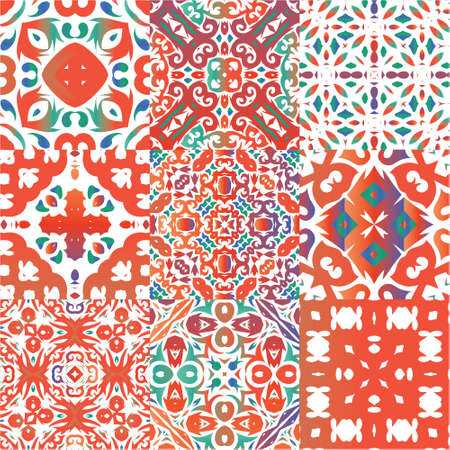 Antique mexican talavera ceramic. Set of vector seamless patterns. Modern design. Red floral and abstract decor for scrapbooking, smartphone cases, T-shirts, bags or linens.