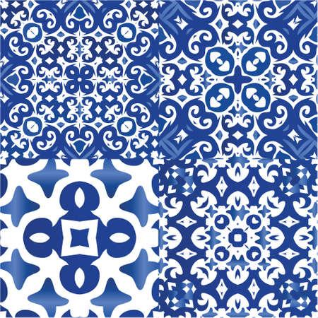 Traditional ornate portuguese azulejos. Kit of vector seamless patterns. Creative design. Blue abstract backgrounds for web backdrop, print, pillows, surface texture, wallpaper, towels. Illustration