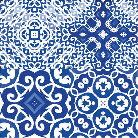 Ornamental azulejo portugal tiles decor. Geometric design. Set of vector seamless patterns. Blue gorgeous flower folk prints for linens, smartphone cases, scrapbooking, bags or T-shirts.