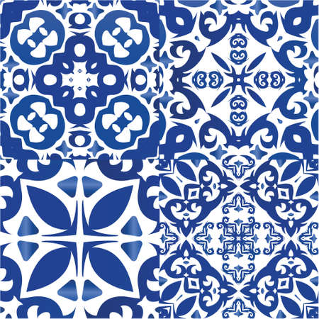 Ornamental azulejo portugal tiles decor. Collection of vector seamless patterns. Modern design. Blue gorgeous flower folk prints for linens, smartphone cases, scrapbooking, bags or T-shirts.