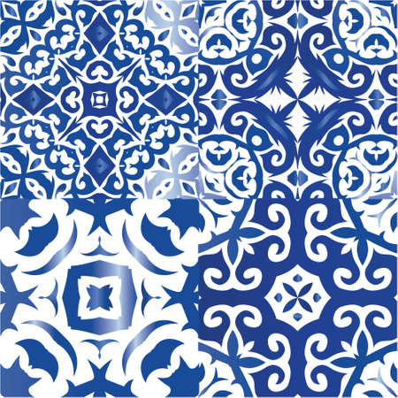 Traditional ornate portuguese azulejos. Kit of vector seamless patterns. Stylish design. Blue abstract backgrounds for web backdrop, print, pillows, surface texture, wallpaper, towels.
