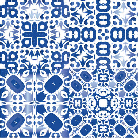 Ornamental azulejo portugal tiles decor. Collection of vector seamless patterns. Hand drawn design. Blue gorgeous flower folk prints for linens, smartphone cases, scrapbooking, bags or T-shirts.