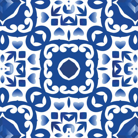 Antique portuguese azulejo ceramic. Vector seamless pattern arabesque. Colored design. Blue floral and abstract decor for scrapbooking, smartphone cases, T-shirts, bags or linens. Illustration