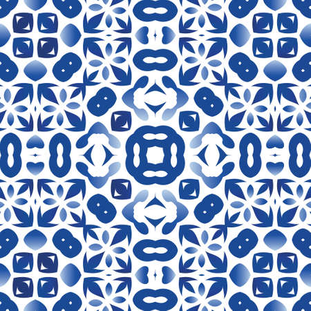 Decorative color ceramic azulejo tiles. Vector seamless pattern poster. Graphic design. Blue folk ethnic ornament for print, web background, surface texture, towels, pillows, wallpaper.