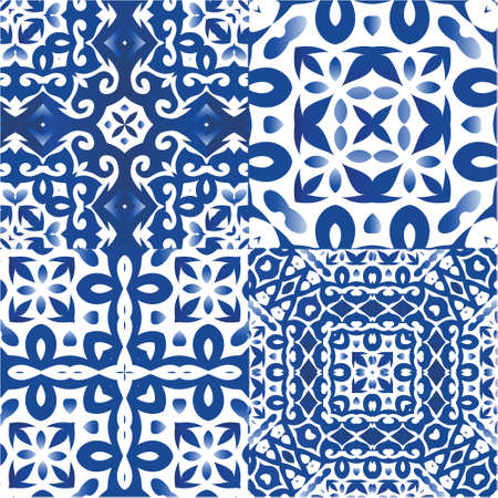 Portuguese ornamental azulejo ceramic. Universal design. Kit of vector seamless patterns. Blue vintage backdrops for wallpaper, web background, towels, print, surface texture, pillows.