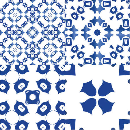 Traditional ornate portuguese azulejos. Collection of vector seamless patterns. Universal design. Blue abstract backgrounds for web backdrop, print, pillows, surface texture, wallpaper, towels.