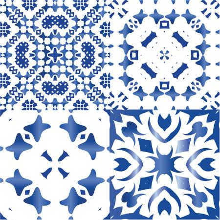 Portuguese vintage azulejo tiles. Bathroom design. Collection of vector seamless patterns. Blue antique backgrounds for pillows, print, wallpaper, web backdrop, towels, surface texture. Illustration