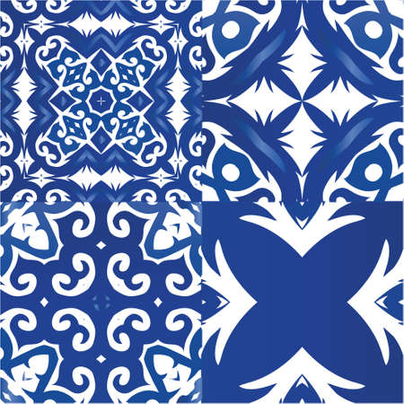 Portuguese vintage azulejo tiles. Collection of vector seamless patterns. Hand drawn design. Blue antique backgrounds for pillows, print, wallpaper, web backdrop, towels, surface texture.