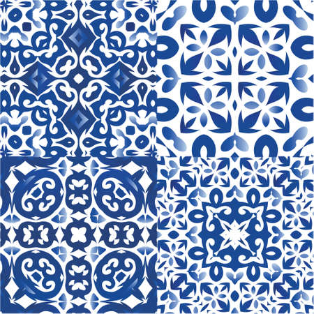 Portuguese ornamental azulejo ceramic. Collection of vector seamless patterns. Original design. Blue vintage backdrops for wallpaper, web background, towels, print, surface texture, pillows.