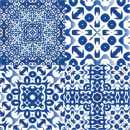 Portuguese vintage azulejo tiles. Set of vector seamless patterns. Fashionable design. Blue antique backgrounds for pillows, print, wallpaper, web backdrop, towels, surface texture.