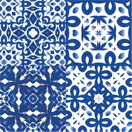 Portuguese ornamental azulejo ceramic. Kit of vector seamless patterns. Minimal design. Blue vintage backdrops for wallpaper, web background, towels, print, surface texture, pillows. Illustration