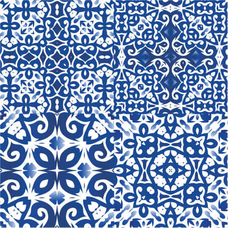 Antique portuguese azulejo ceramic. Colored design. Collection of vector seamless patterns. Blue floral and abstract decor for scrapbooking, smartphone cases, T-shirts, bags or linens.