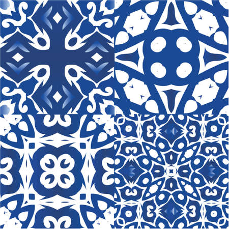 Antique azulejo tiles patchworks. Graphic design. Collection of vector seamless patterns. Blue spain and portuguese decor for bags, smartphone cases, T-shirts, linens or scrapbooking.