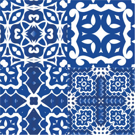 Ceramic tiles azulejo portugal. Kit of vector seamless patterns. Stylish design. Blue ethnic backgrounds for T-shirts, scrapbooking, linens, smartphone cases or bags.