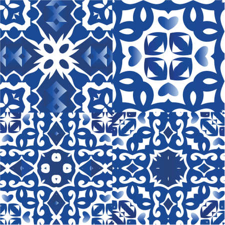 Antique azulejo tiles patchworks. Graphic design. Set of vector seamless patterns. Blue spain and portuguese decor for bags, smartphone cases, T-shirts, linens or scrapbooking.