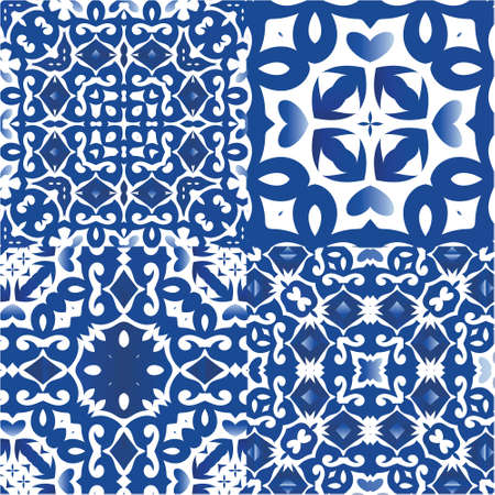Ethnic ceramic tiles in portuguese azulejo. Creative design. Kit of vector seamless patterns. Blue vintage ornaments for surface texture, towels, pillows, wallpaper, print, web background.