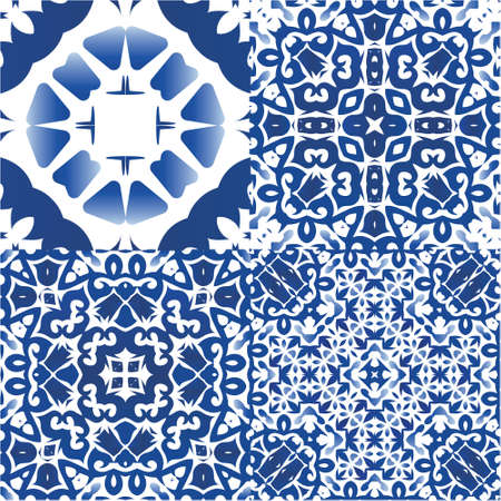 Antique portuguese azulejo ceramic. Modern design. Set of vector seamless patterns. Blue floral and abstract decor for scrapbooking, smartphone cases, T-shirts, bags or linens.