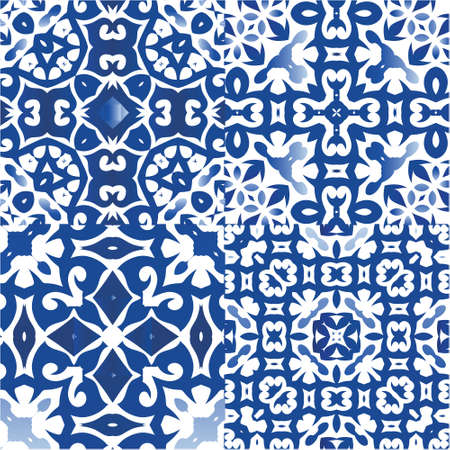 Antique portuguese azulejo ceramic. Graphic design. Collection of vector seamless patterns. Blue floral and abstract decor for scrapbooking, smartphone cases, T-shirts, bags or linens. Illustration