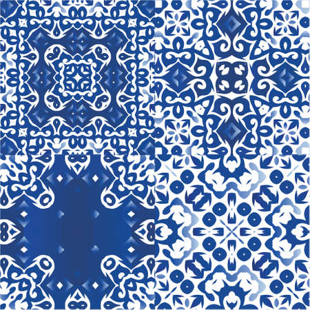 Ethnic ceramic tiles in portuguese azulejo. Set of vector seamless patterns. Stylish design. Blue vintage ornaments for surface texture, towels, pillows, wallpaper, print, web background.
