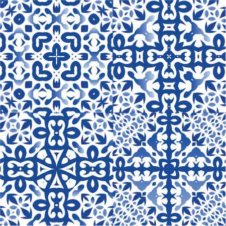 Portuguese vintage azulejo tiles. Set of vector seamless patterns. Minimal design. Blue antique backgrounds for pillows, print, wallpaper, web backdrop, towels, surface texture.