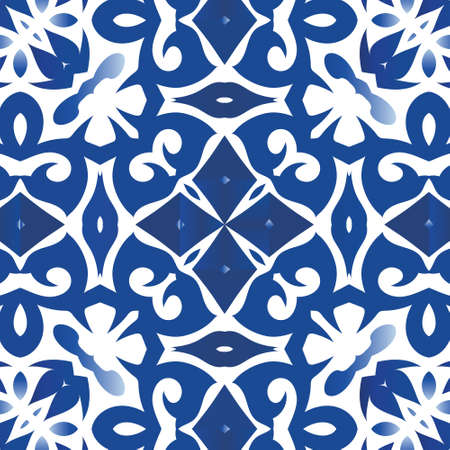 Antique azulejo tiles patchwork. Universal design. Vector seamless pattern flyer. Blue spain and portuguese decor for bags, smartphone cases, T-shirts, linens or scrapbooking. Illustration