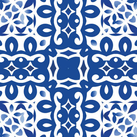 Antique portuguese azulejo ceramic. Original design. Vector seamless pattern elements. Blue floral and abstract decor for scrapbooking, smartphone cases, T-shirts, bags or linens.