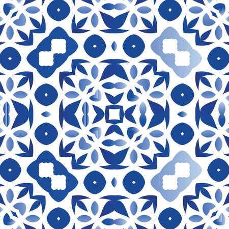 Ethnic ceramic tile in portuguese azulejo. Original design. Vector seamless pattern illustration. Blue vintage ornament for surface texture, towels, pillows, wallpaper, print, web background.
