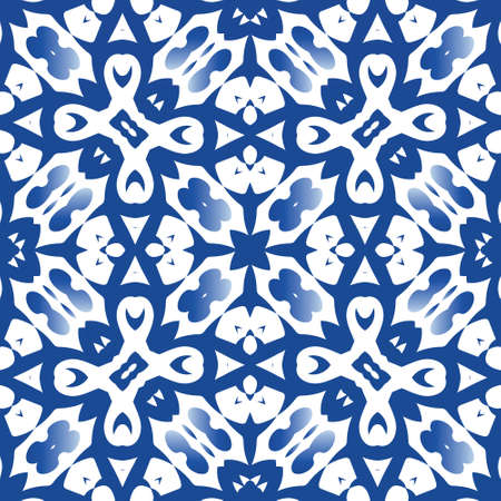 Portuguese ornamental azulejo ceramic. Vector seamless pattern poster. Original design. Blue vintage backdrop for wallpaper, web background, towels, print, surface texture, pillows.