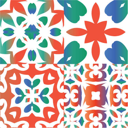 Mexican ornamental talavera ceramic. Collection of vector seamless patterns. Geometric design. Red vintage backdrops for wallpaper, web background, towels, print, surface texture, pillows. Ilustração