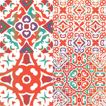 Antique ornate tiles talavera mexico. Set of vector seamless patterns. Universal design. Red ethnic backgrounds for T-shirts, scrapbooking, linens, smartphone cases or bags. Ilustração